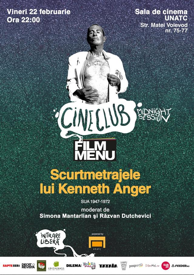 Scurtmetrajele lui Kenneth Anger, sala de cinema a UNATC, în cadrul Cineclubului Midnight Session