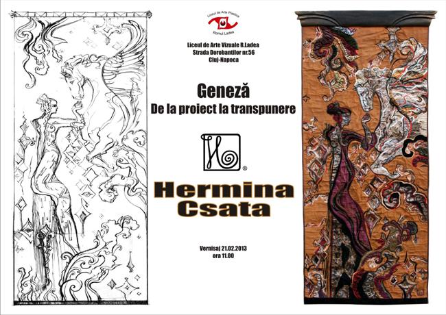 """Hermina Csata, """"Geneză – De la proiect la transpunere"""" @ Liceul de Arte Vizuale """"Romulus Ladea"""", Cluj Napoca"""