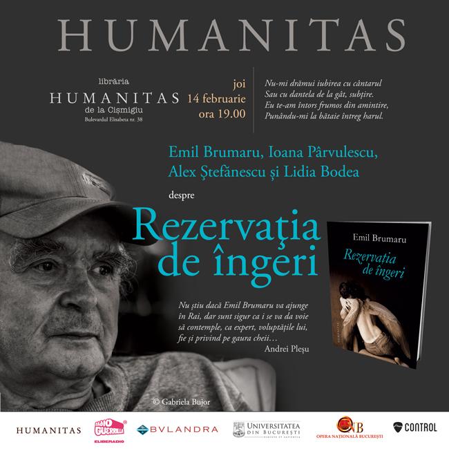 """Emil Brumaru lansează """"Rezervația de îngeri"""", un nou volum de poezii, în Libraria Humanitas de la Cișmigiu"""