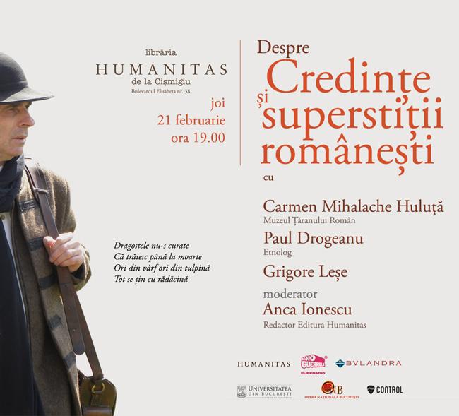 Dezbatere despre credințe și superstiții românești @ Libraria Humanitas de la Cișmigiu