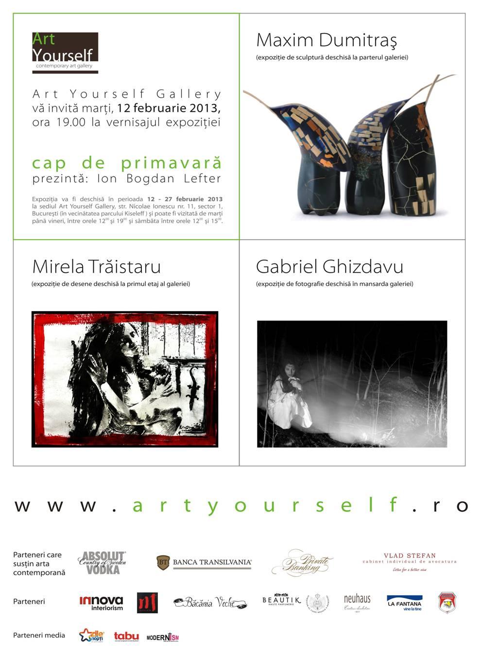 """Mirela Trăistaru, Maxim Dumitraș si Gabriel Ghizdavu """"Cap de primăvară"""" @ Art Yourself Gallery"""