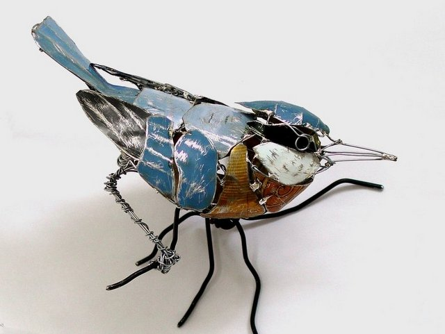 Bird Sculptures Made from Recycled Metals