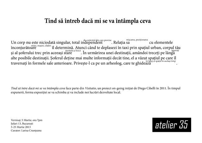 """Diego Cibelli """"Tind să întreb dacă mi se va întâmpla ceva"""" @ Atelier 35, București"""