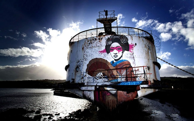 Enormous Abandoned Ship Transformed into a Graffiti Gallery