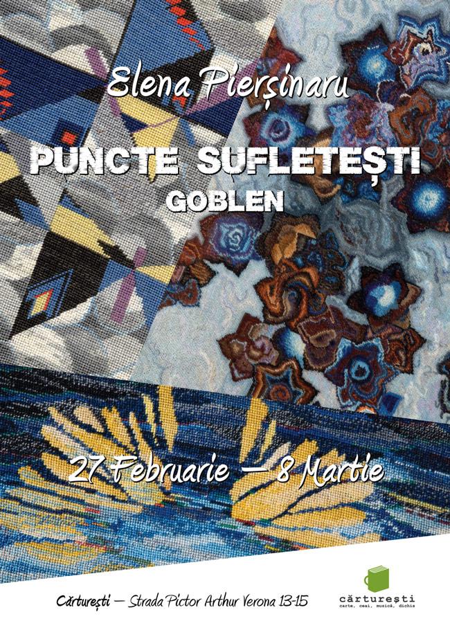 """Elena Pierșinaru """"Puncte sufletești""""- Goblenul ca artă @ Librăria Cărturești, Verona, București"""