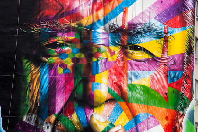 Mural Tribute to Oscar Niemeyer in Brazil by Eduardo Kobra