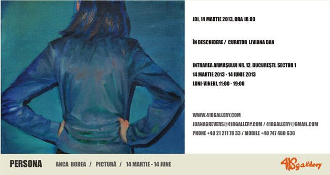 """Anca Bodea, """"Persona"""" @ 418 Contemporary Art Gallery, București"""