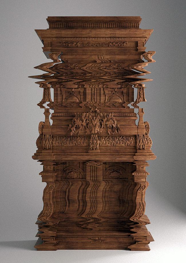 Hand-Carved Glitch Furniture by Ferruccio Laviani