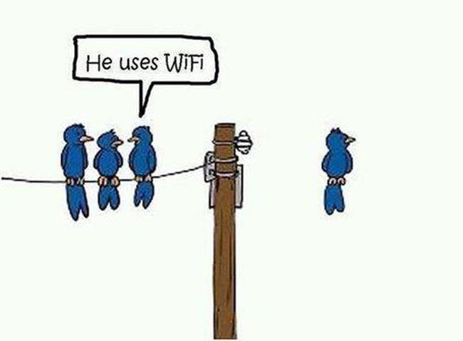 He uses wireless