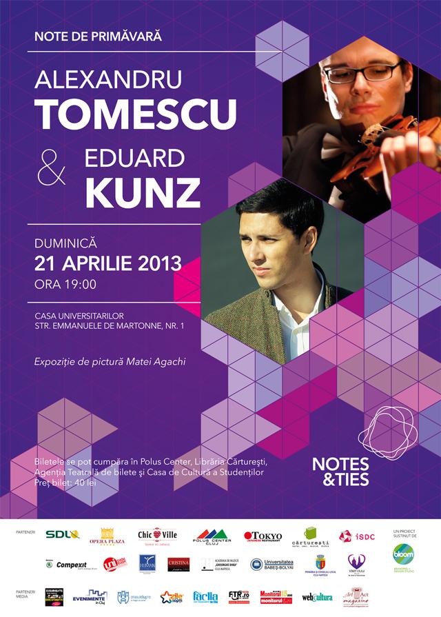 """Asociația Culturală """"Notes&Ties"""" prezintă NOTE DE PRIMĂVARĂ cu violonistul ALEXANDRU TOMESCU și pianistul EDUARD KUNZ @ sala Auditorium Maximum a Universităţii Babeş-Bolyai"""