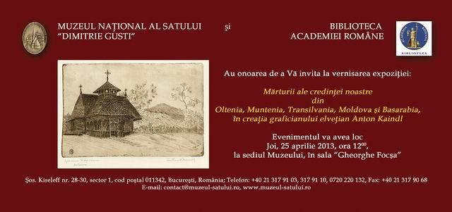 """Expoziția de gravură a graficianului elvețian Anton Kaindl @ Muzeul Național al Satului """"Dimitrie Gusti"""""""