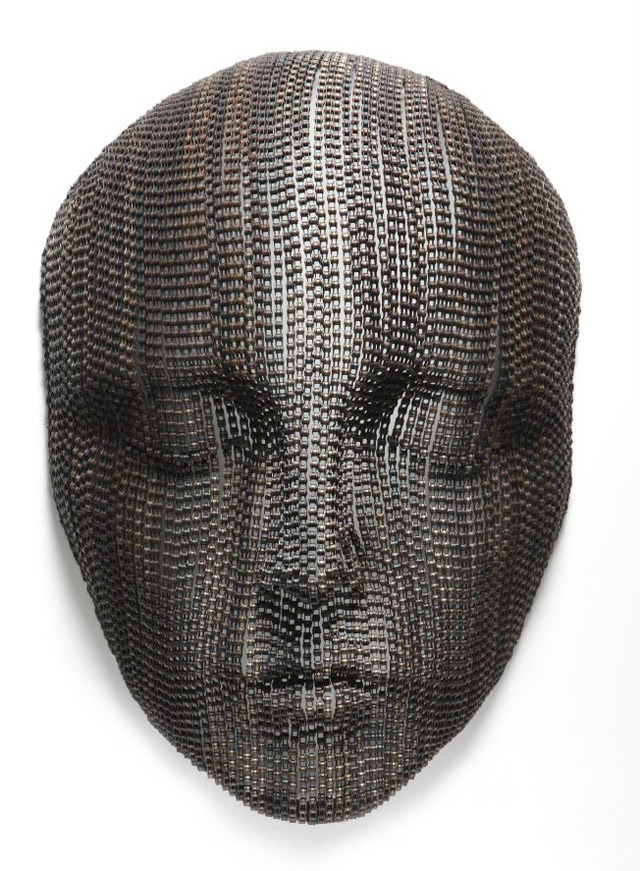 Large Bicycle Chain Sculptures of Meditative Faces