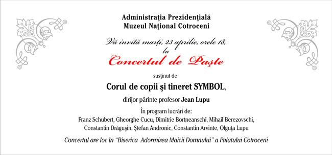 Concert dedicat Sfintelor Paşti la Muzeul Naţional Cotroceni