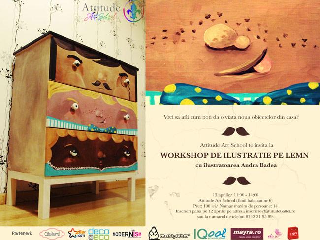 Workshop de ilustrație pe lemn la Attitude Art School