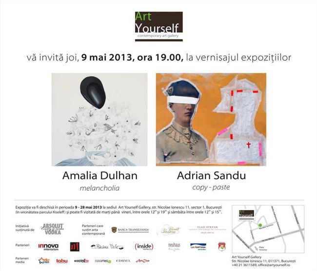 """Amalia Dulhan """"Melancholia"""" și Adrian Sandu """"Copy-paste"""" @ ArtYourself, București"""