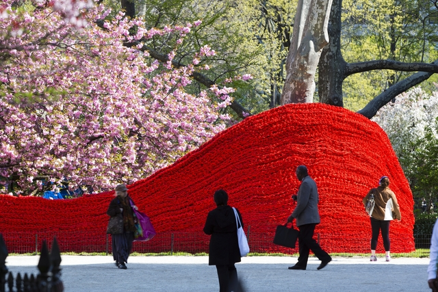 A Colorful Art Installation in New York City's Madison Square Park Using 1.4 Million Feet of Rope