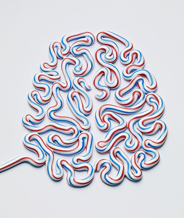 Brain Art Made of Toothpaste, Newspapers, and Food