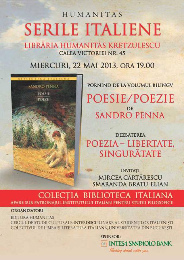 """Dezbatere """"Poezie – libertate, singurătate"""" @ Seri Italiene la Librăria Humanitas București"""