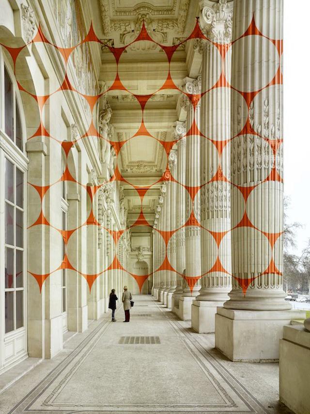 Geometric Projection by Felice Varini at Grand Palais, Paris