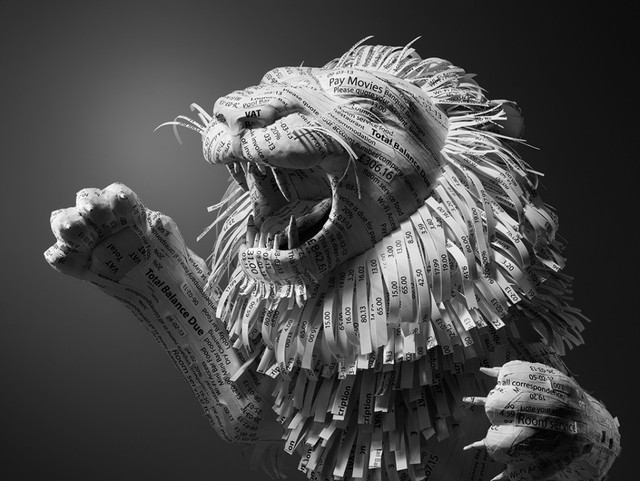Lion Sculpture Made Out of Shredded Hotel Receipts