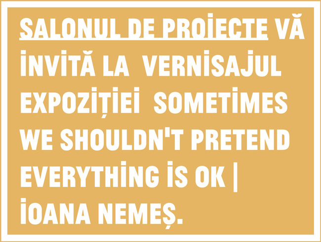 "Ioana Nemeș, ""Sometimes we shouldn't pretend everything is OK"" @ Salonul de proiecte, București"