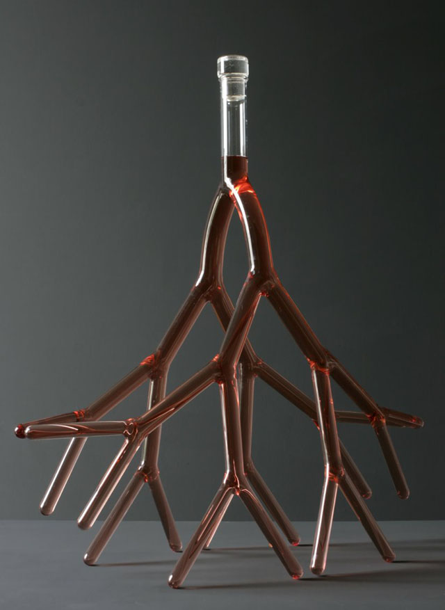 Glass Wine Decanters Shaped Like Veins, Hearts, & Branches