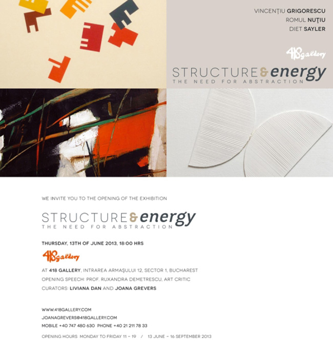 "Vincențiu Grigorescu, Romul Nuțiu și Diet Sayler, ""Structure & Energy"" @ 418 Contemporary Art Gallery, București"
