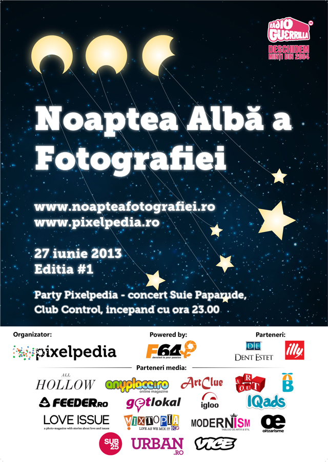 Prima ediție a Nopții Albe a Fotografiei are loc la București, organizată de Pixelpedia cu susținerea F64