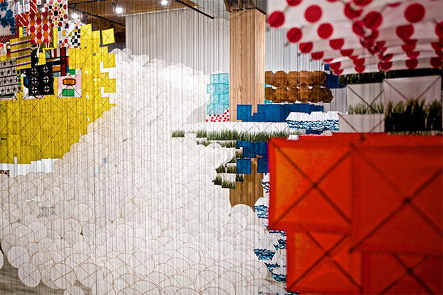 Suspended Kite Installation by Jacob Hashimoto