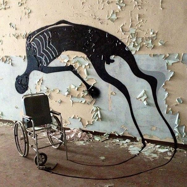 Street Artist Paints Ghostly Shadows in Abandoned Psychiatric Hospital