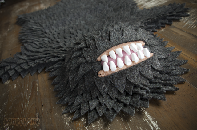 Monster Skin Rugs Made of Felt and Clay