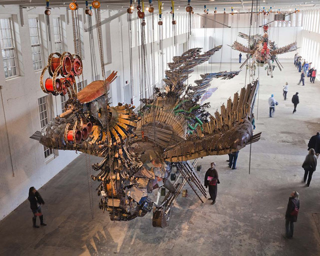 Large-scale sculptural installation: 12 tons and measuring 90 and 100 feet in length @ MASS MoCA