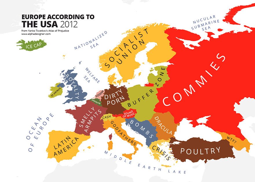31 Maps Mocking National Stereotypes Around the World