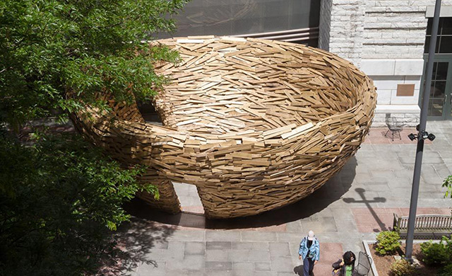 The Reading Nest Installation Using 10,000 Reclaimed Boards