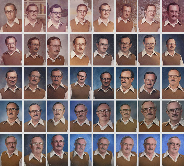School Teacher Wears The Same Outfit For Yearbook Pictures for 40 Years