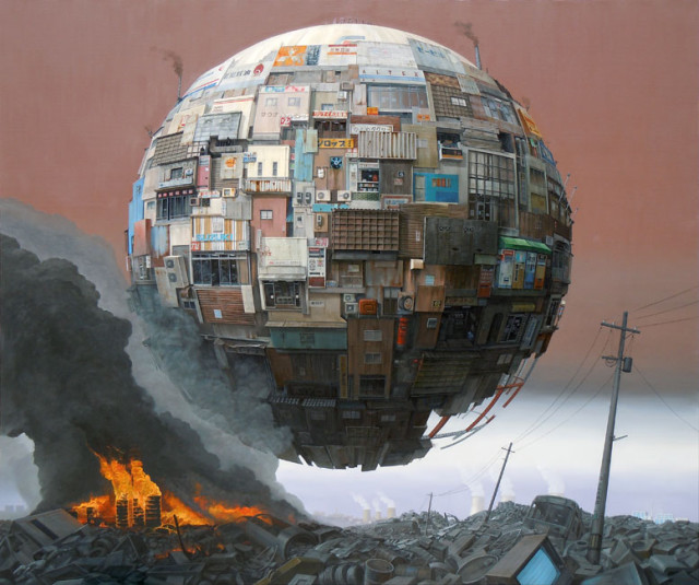 Surreal Paintings of Floating Ramshackle Orbs