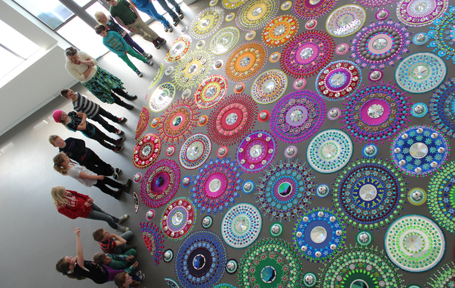 Kaleidoscope-Like Floor Installations Made of Colored Glass and Mirrors
