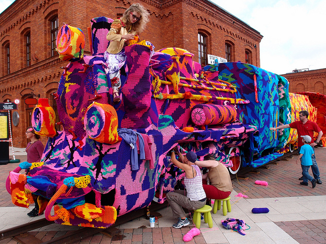 Olek Covers Entire Locomotive in Crocheted Yarn