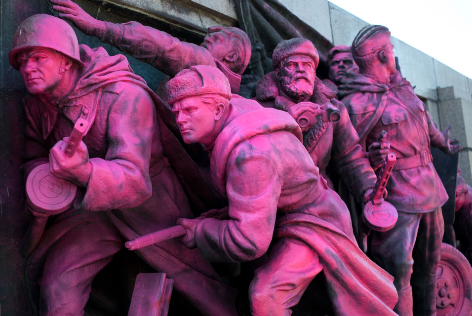 Pink makeover for Warsaw Pact invasion of Czechoslovakia monument in Bulgaria