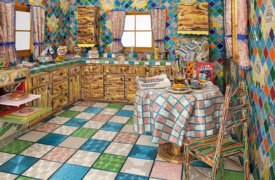 Artist Spends 5 Years Covering Entire Kitchen in Millions of Glass Beads