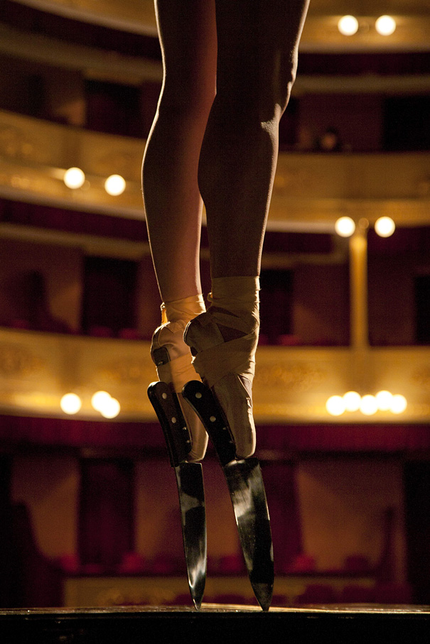Ballerina Wears Knife Shoes to Perform En Pointe