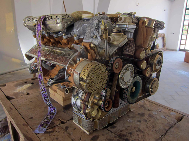 Incredible Mercedes Engine Replica Handcrafted by Moroccan Artisans With Tin, Goatskin, and Terra Cotta