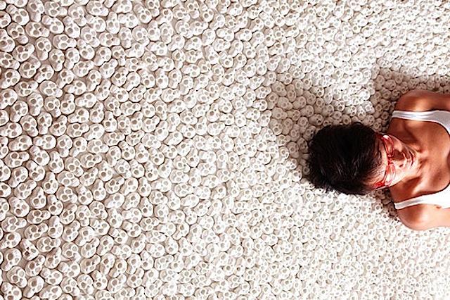 Interactive Installation Invites Visitors to Walk On 100 000 Miniature Porcelain Skulls
