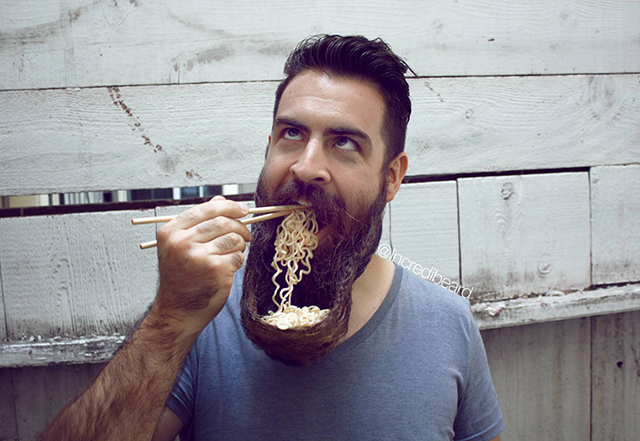 Man Fashions His Beard Into a Bowl & Eats Ramen Noodles Out Of It