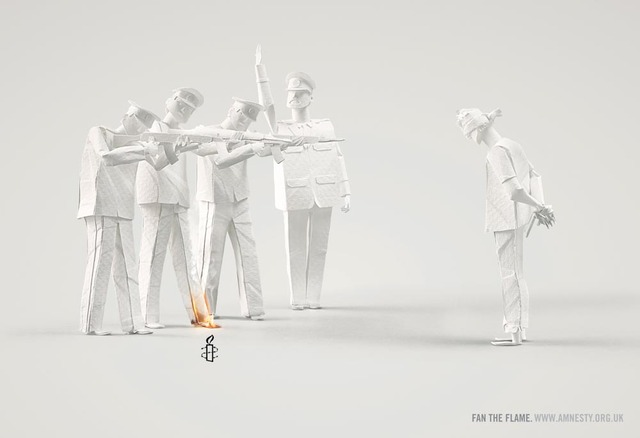 Fan the Flame, Intricate Paper Sculptures Set Aflame Made For Amnesty International