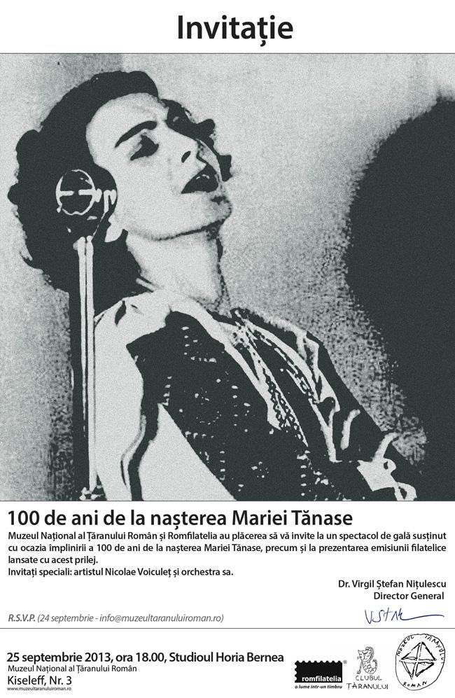 100 de ani de la naşterea Mariei Tănase @ Muzeul Național al Țăranului Român