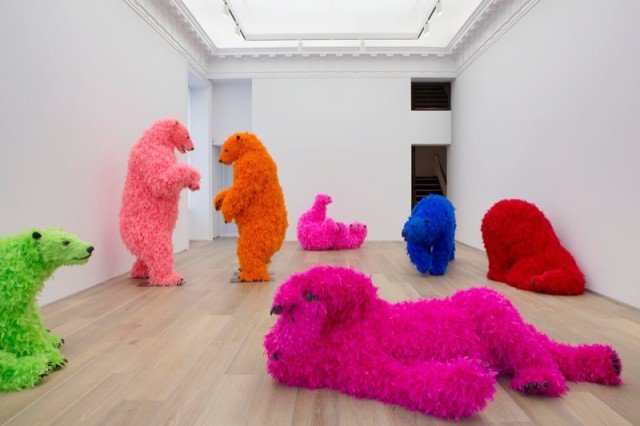 Bear Sculptures Covered in Colorful Feathers by Paola Pivi