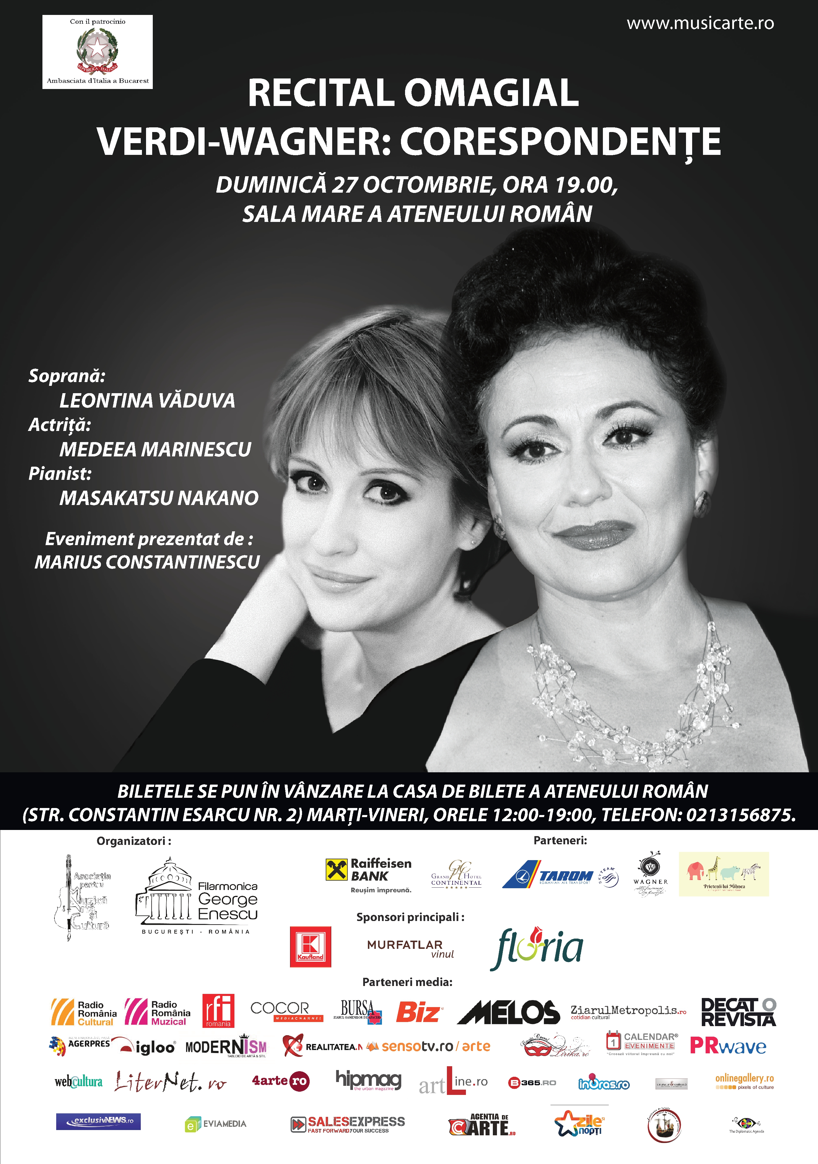 Soprana Leontina Văduva și actrița Medeea Marinescu, Verdi-Wagner: Corespondențe @ Ateneul Român