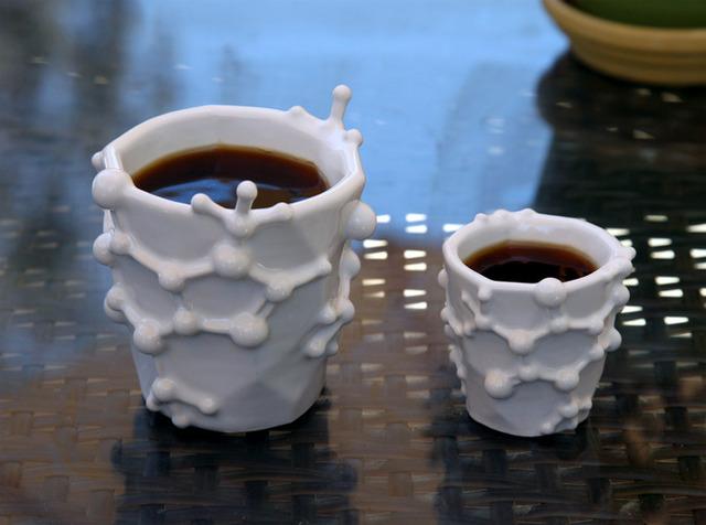 Coffee Mug and Espresso Cup Designed After the Caffeine Molecule