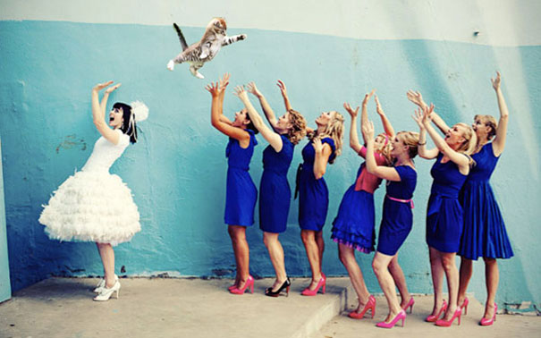 Bride's Bouquets Replaced By Flying Cats In The Latest Wedding Photography Trend